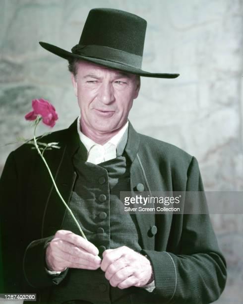 American actor Gary Cooper as Quaker farmer Jess Birdwell in the American Civil War film 'Friendly Persuasion', 1956.