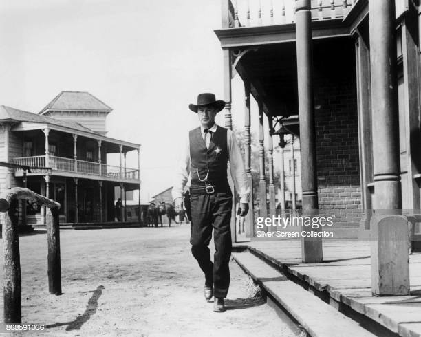 American actor Gary Cooper in a scene from the film 'High Noon' , California, 1952.