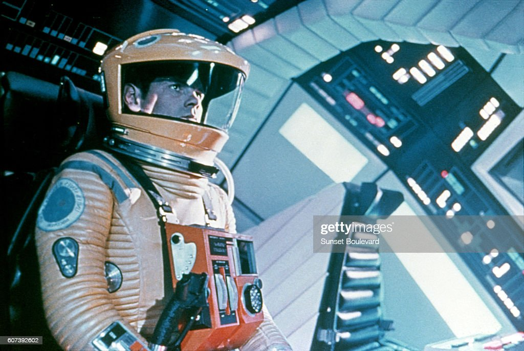 American actor Gary Lockwood on the set of 2001: A Space Odyssey, written and directed by Stanley Kubrick.