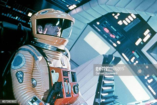 Closeup of American actor Keir Dullea dressed in a space suit in a scene from the film '2001 A Space Odyssey' 1968