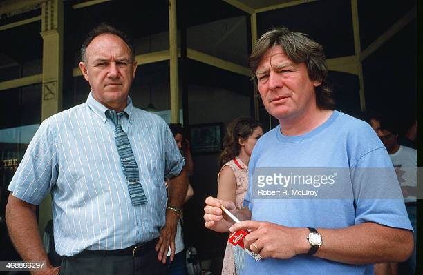 American actor Gene Hackman and British director Alan Parker on the set of their movie 'Mississippi Burning' Braxton Mississippi May 6 1988