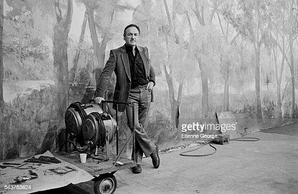 American actor Gene Hackman on the set of the film 'Target', directed by Arthur Penn.