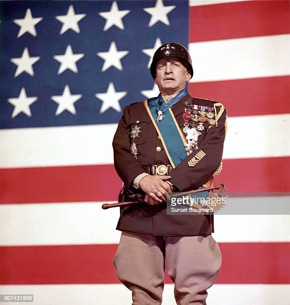 American actor George C Scott on the set of Patton directed by Franklin J Schaffner