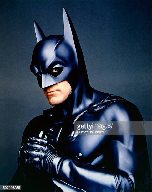 American actor George Clooney on the set of Batman & Robin, directed by Joel Schumacher.