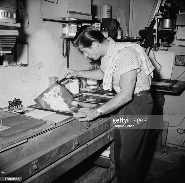American actor George Nader develops a photograph of a dog in his darkroom circa 1955