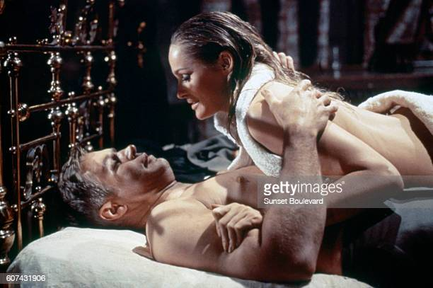American actor George Peppard and SwissAmerican actress Ursula Andress on the set of The Blue Max based on the novel by Jack Hunter and directed by...