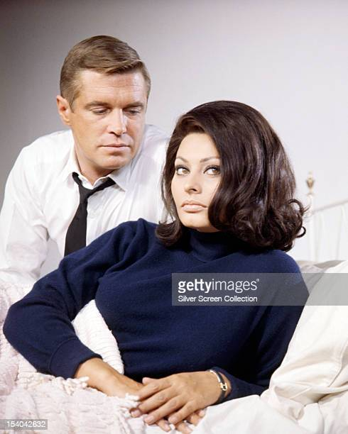 American actor George Peppard as John Curtis and Italian actress Sophia Loren as Nora in 'Operation Crossbow' directed by Michael Anderson 1965