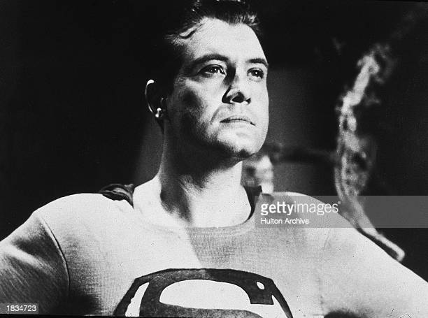 American actor George Reeves holds his head high in a still from the television series, 'Adventures of Superman,' or from one of the films in which...