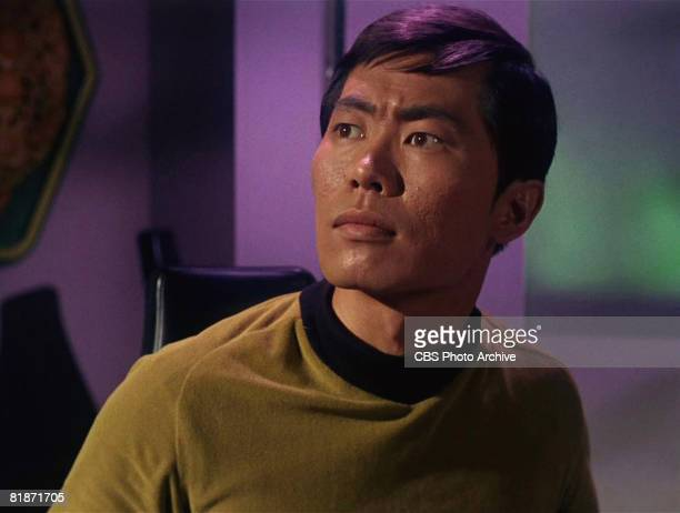 American actor George Takei appears as Sulu in a scene from 'The Man Trap,' the premiere episode of 'Star Trek,' which aired on September 8, 1966.