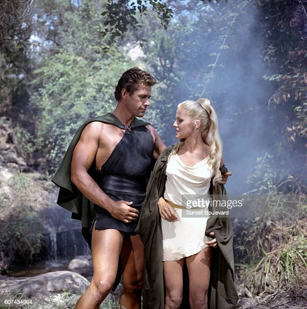 American actor Gordon Scott and Italian actress Virna Lisi on the set of Romolo e Remo written and directed by Sergio Corbucci