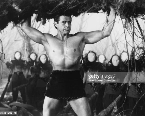 American actor Gordon Scott as the hero of the Italian film 'Maciste contro il vampiro' aka 'Goliath and the Vampires' 1961