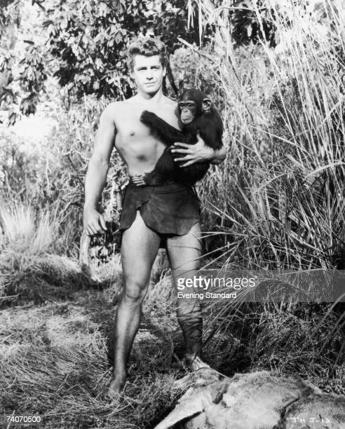 American actor Gordon Scott plays Tarzan in the RKO film 'Tarzan's Hidden Jungle' filmed on location in California 1955