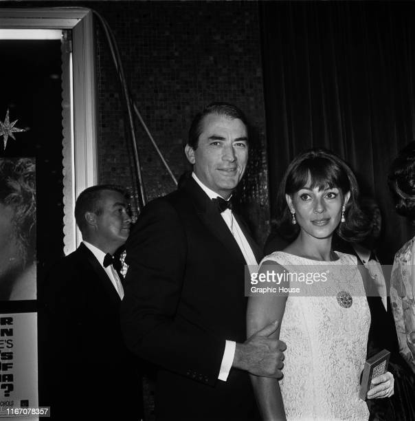 American actor Gregory Peck and his wife Veronique at the premiere of the film 'Who's Afraid of Virginia Woolf?' in Hollywood, California, 21st June...