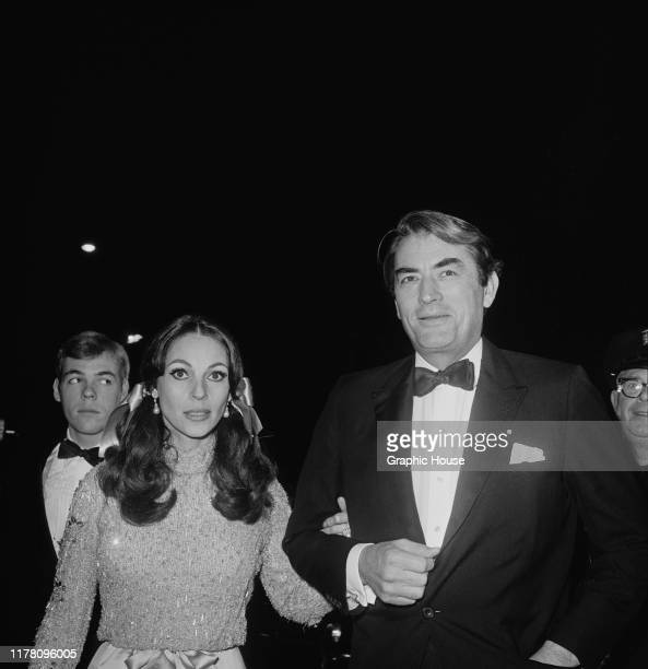American actor Gregory Peck and his wife Veronique at the premiere of the film 'The Sand Pebbles', 1966.