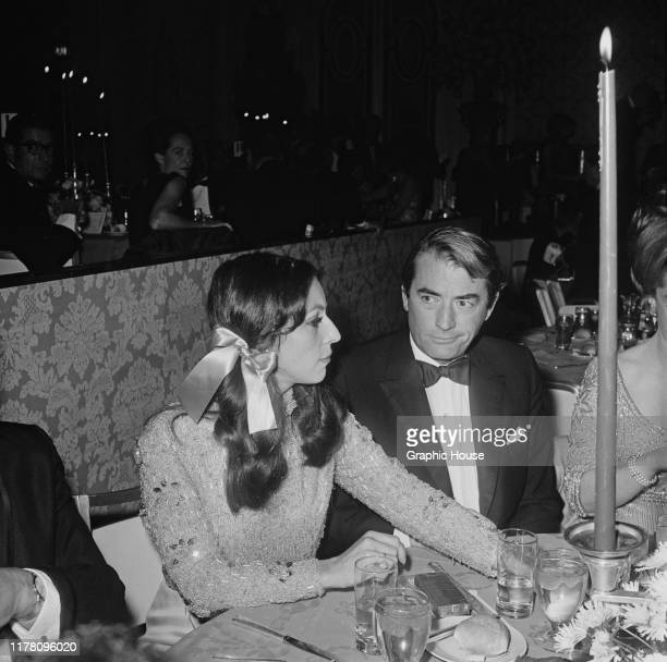 American actor Gregory Peck and his wife Veronique at the premiere after-party for the film 'The Sand Pebbles', 1966.