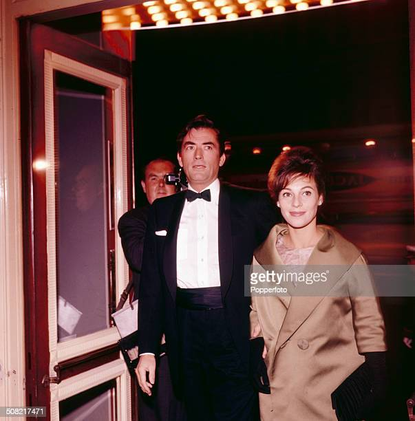 American actor Gregory Peck and his wife Veronique Passani arrive at the Astoria cinema in London for the premiere of the film 'Inherit The Wind' in...
