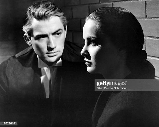 American actor Gregory Peck as Anthony Keane and Italian actress Alida Valli as Mrs Maddalena Anna Paradine in 'The Paradine Case' directed by Alfred...