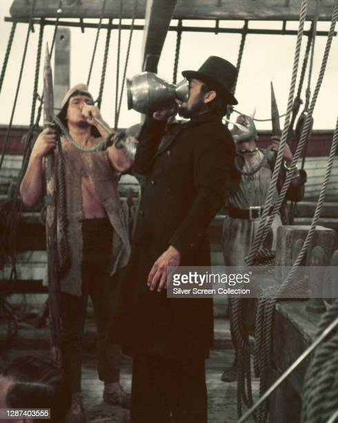 American actor Gregory Peck as Captain Ahab in the film 'Moby Dick', adapted from Herman Melville's classic novel, 1956.