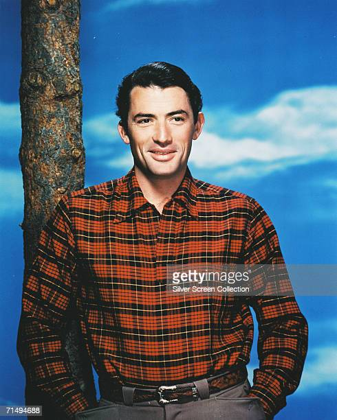 American actor Gregory Peck in a plaid shirt, circa 1950.