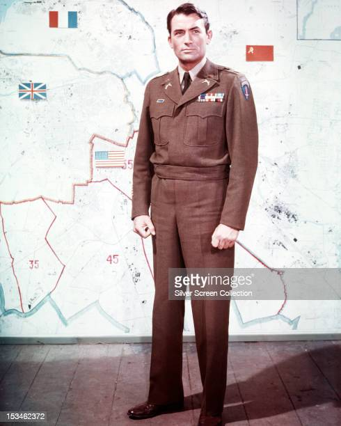 American actor Gregory Peck in costume as Lt Col Steve Van Dyke in 'Night People' directed by Nunnally Johnson 1954