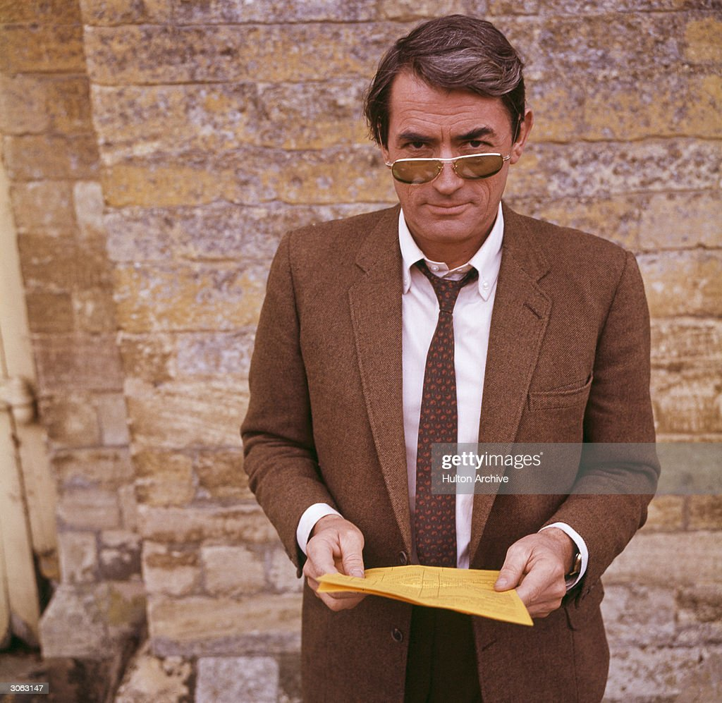 American actor Gregory Peck (1916 - 2003) in London for the filming of Stanley Donen's thriller 'Arabesque'.