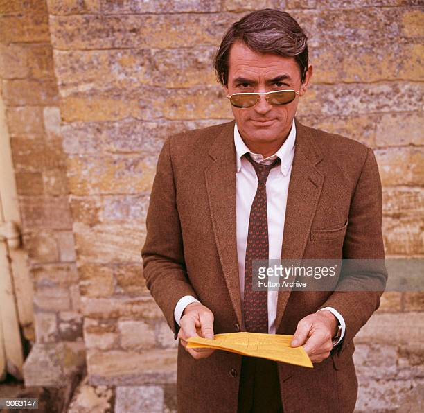 American actor Gregory Peck in London for the filming of Stanley Donen's thriller 'Arabesque'