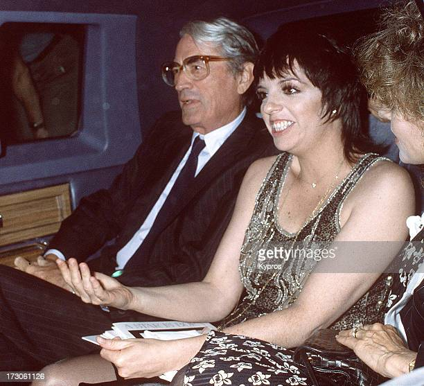 American actor Gregory Peck with actress and singer Liza Minnelli and his wife Veronique Peck at 'A Star is Born' Specially Restored 29th Anniversary...