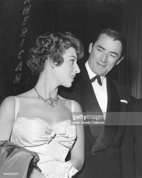 American actor Gregory Peck with his second wife Veronique , circa 1958.