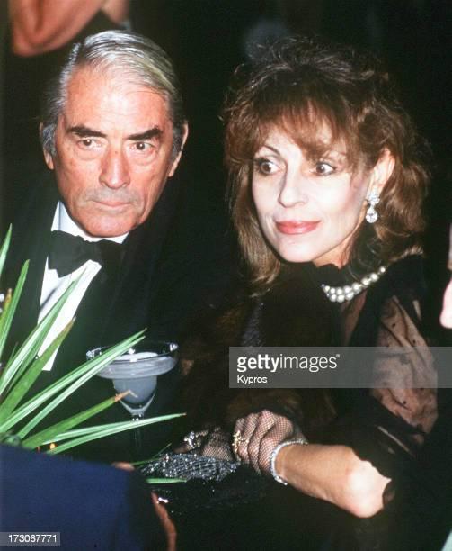American actor Gregory Peck with his wife Veronique, circa 1990.