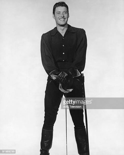 American actor Guy Williams in his role as Don Diego de la Vega aka Zorro in the swashbuckling TV series 'Zorro' 1960
