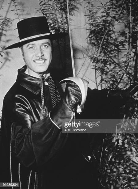 American actor Guy Williams in his role as Don Diego de la Vega aka Zorro in the swashbuckling TV series 'Zorro' 1957