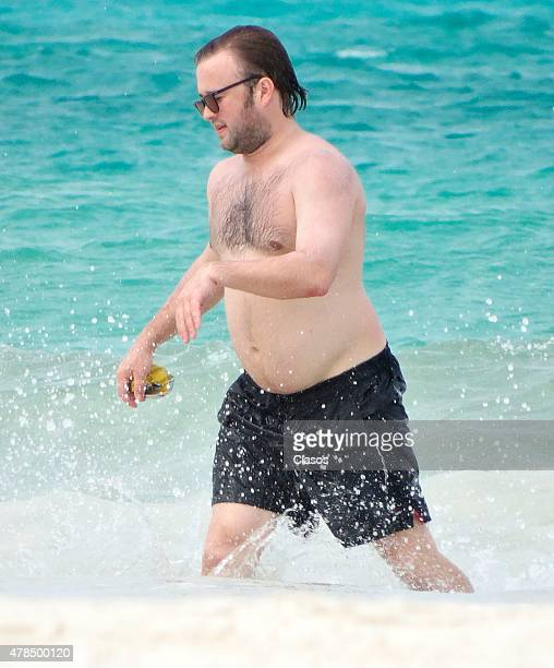 American Actor Haley Joel Osment is seen in the sea on June 24 2015 in Cancun Mexico