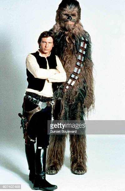 American actor Harrison Ford and British Peter Mayhew on the set of Star Wars: Episode V - The Empire Strikes Back directed by Irvin Kershner.