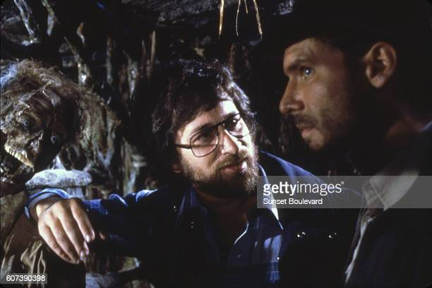 American actor Harrison Ford and director Steven Spielberg on the set of 'Raiders of the Lost Ark'