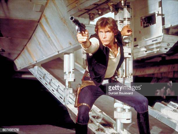 American actor Harrison Ford on the set of Star Wars Episode IV A New Hope written directed and produced by Georges Lucas
