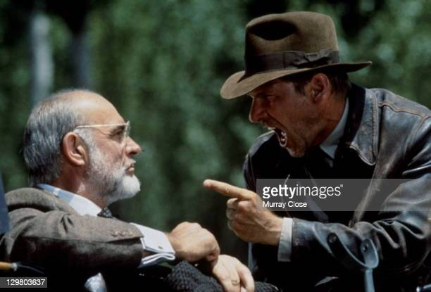 American actor Harrison Ford as the eponymous archaeologist and Scottish actor Sean Connery as his father Henry Jones during the motorcycle chase...