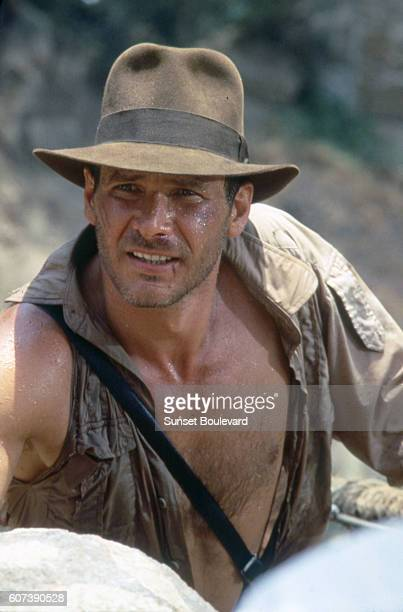 American actor Harrison Ford on the set of 'Indiana Jones and the Temple of Doom'