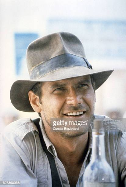 American actor Harrison Ford on the set of 'Raiders of the Lost Ark'
