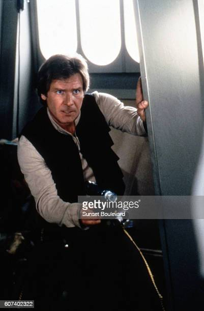 American actor Harrison Ford on the set of Star Wars: Episode VI - Return of the Jedi directed by Welsh Richard Marquand.