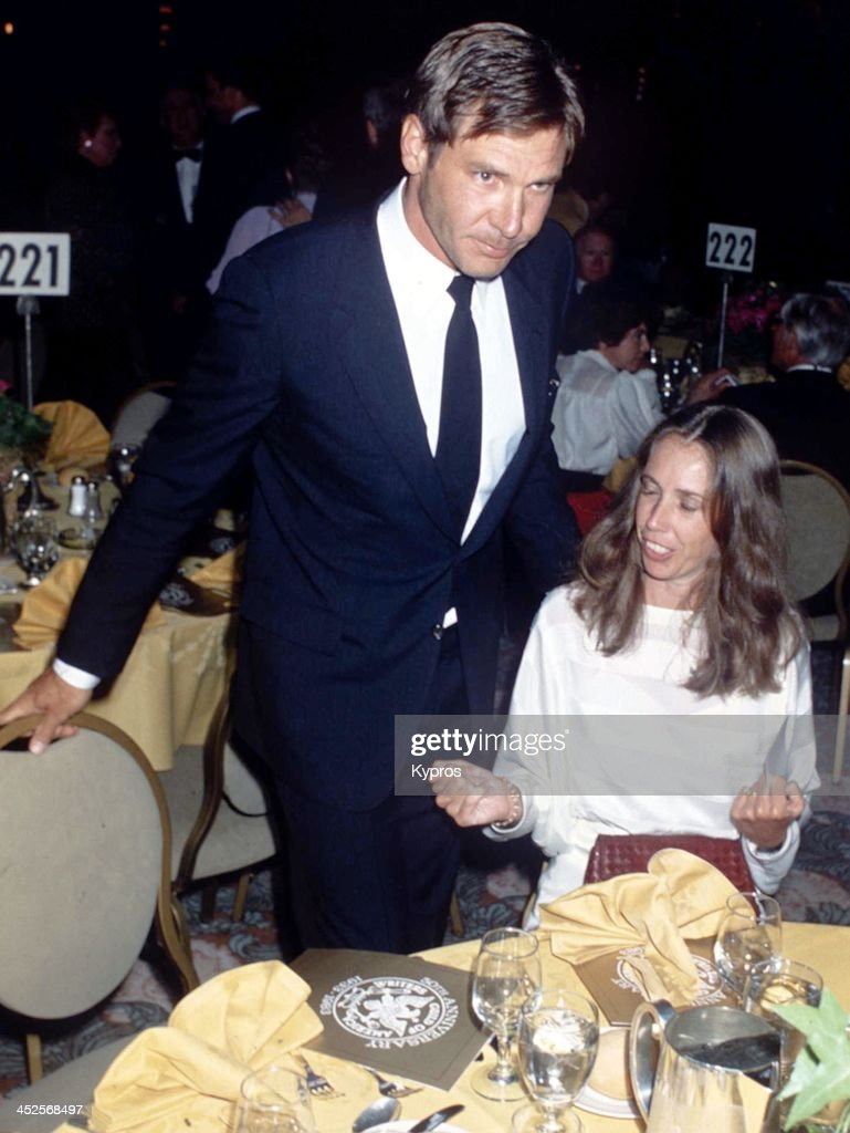 American actor Harrison Ford with his wife, screenwriter Melissa Mathison at the Writers' Guild of America 50th Anniversary celebrations, USA, 1983.
