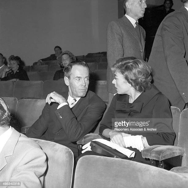 American actor Henry Fonda and his wife and Italian baroness Afdera Franchetti attending an opening night at Eliseo theatre in Rome Rome 1956