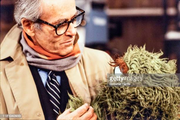 American actor Henry Fonda and Oscar the Grouch muppet in a scene from the made-for-television program 'A Special Sesame Street Christmas', New York,...