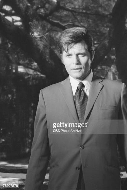 American actor Jack Lord born John Joseph Patrick Ryan speaks in character as Steve McGarrett during the episode 'Highest Castle Deepest Grave' of...
