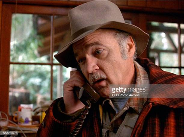 American actor Jack Nance talks on a telephone in a scene from the pilot episode of the television series 'Twin Peaks' originally broadcast on April...