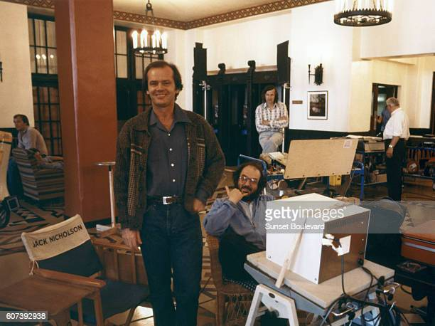 American actor Jack Nicholson and director Stanley Kubrick on the set of his movie The Shining based on the novel by Stephen King