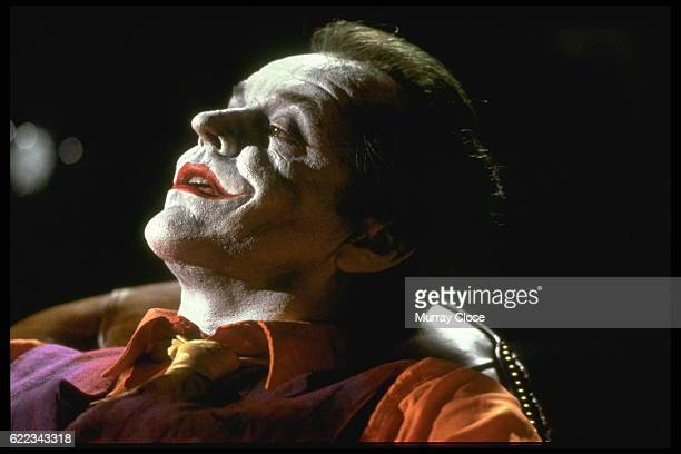 American actor Jack Nicholson plays the Joker in the movie Batman, directed by Tim Burton.