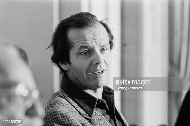 American actor Jack Nicholson promoting his new film 'One Flew Over the Cuckoo's Nest', at the The Dorchester in Mayfair, London, England, 9th...