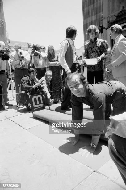 American actor Jack Nicholson put his handprints and autograph at the Mann's Chinese Theatre