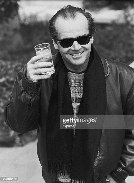 American actor Jack Nicholson raises a glass 1984