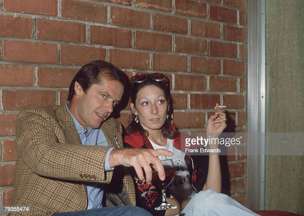 American actor Jack Nicholson with American actress Anjelica Huston at a Screen Directors Guild showing of Alan J Pakula's 'The Parallax View' 10th...